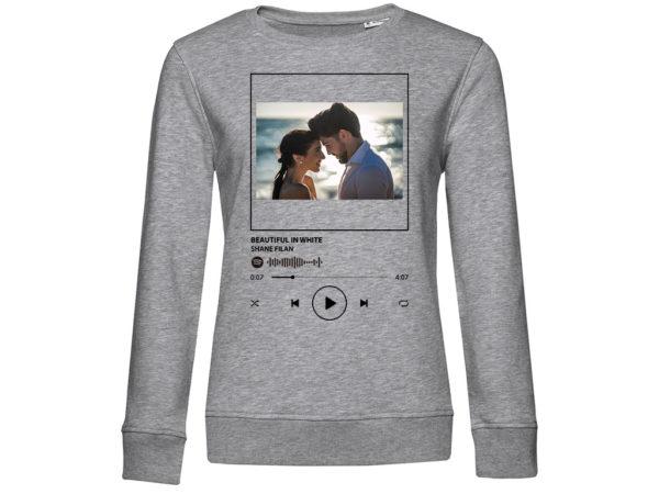 Sudadera Spotify mujer personalizada color gris