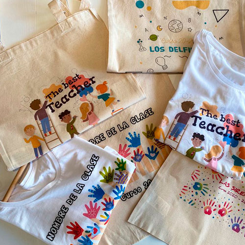 Camisetas y bolsas para profes