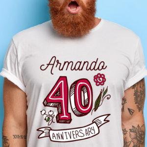 Camiseta 40 aniversario personalizada con nombre