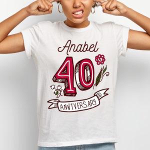 Camiseta 40 aniversario personalizada