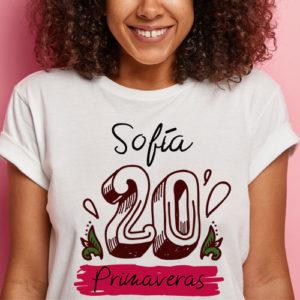 Camiseta cumpleaños personalizada 20 años